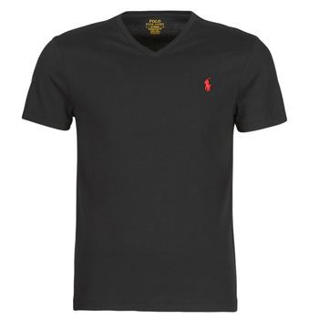 Oblačila Moški Majice s kratkimi rokavi Polo Ralph Lauren T-SHIRT AJUSTE COL V EN COTON LOGO PONY PLAYER Črna
