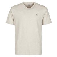 Oblačila Moški Majice s kratkimi rokavi Polo Ralph Lauren T-SHIRT AJUSTE COL V EN COTON LOGO PONY PLAYER Bež / Expedition