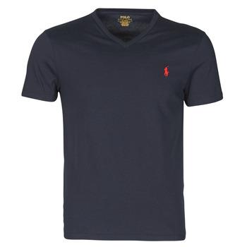 Oblačila Moški Majice s kratkimi rokavi Polo Ralph Lauren T-SHIRT AJUSTE COL V EN COTON LOGO PONY PLAYER Modra