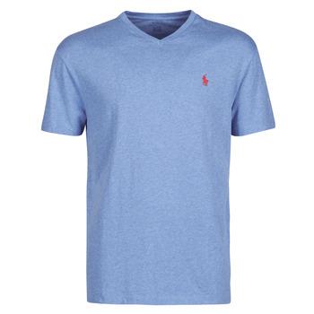 Oblačila Moški Majice s kratkimi rokavi Polo Ralph Lauren T-SHIRT AJUSTE COL V EN COTON LOGO PONY PLAYER Modra / Pale / Royal