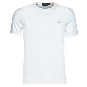 Oblačila Moški Majice s kratkimi rokavi Polo Ralph Lauren T-SHIRT AJUSTE COL ROND EN PIMA COTON LOGO PONY PLAYER MULTICOLO Bela
