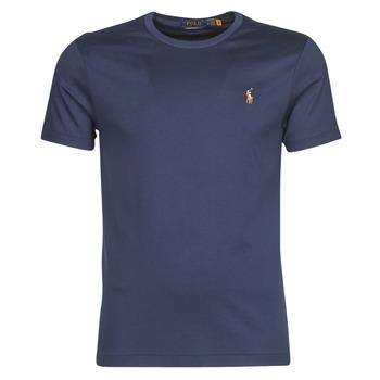 Oblačila Moški Majice s kratkimi rokavi Polo Ralph Lauren T-SHIRT AJUSTE COL ROND EN PIMA COTON LOGO PONY PLAYER MULTICOLO Modra