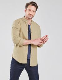 Oblačila Moški Srajce z dolgimi rokavi Polo Ralph Lauren CHEMISE CINTREE SLIM FIT EN OXFORD LEGER TYPE CHINO COL BOUTONNE Bež