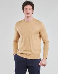 Oblačila Moški Puloverji Polo Ralph Lauren PULL COL ROND AJUSTE EN COTON PIMA LOGO PONY PLAYER Kamel
