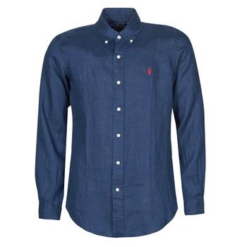 Oblačila Moški Srajce z dolgimi rokavi Polo Ralph Lauren CHEMISE AJUSTEE EN LIN COL BOUTONNE  LOGO PONY PLAYER Modra