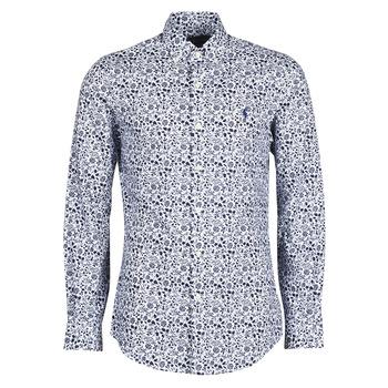 Oblačila Moški Srajce z dolgimi rokavi Polo Ralph Lauren CHEMISE CINTREE SLIM FIT EN POPLINE DE COTON COL BOUTONNE LOGO P Modra