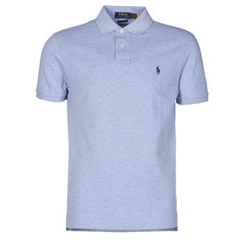 Oblačila Moški Polo majice kratki rokavi Polo Ralph Lauren POLO AJUSTE DROIT EN COTON BASIC MESH LOGO PONY PLAYER Modra