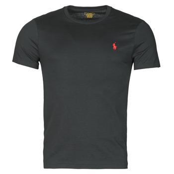 Oblačila Moški Majice s kratkimi rokavi Polo Ralph Lauren T-SHIRT AJUSTE COL ROND EN COTON LOGO PONY PLAYER Črna