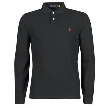 Oblačila Moški Polo majice dolgi rokavi Polo Ralph Lauren POLO AJUSTE DROIT EN COTON BASIC MESH LOGO PONY PLAYER Črna