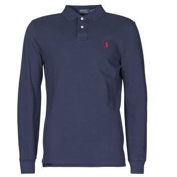 Oblačila Moški Polo majice dolgi rokavi Polo Ralph Lauren POLO AJUSTE DROIT EN COTON BASIC MESH LOGO PONY PLAYER Modra