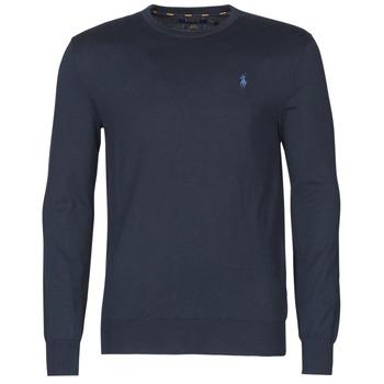 Oblačila Moški Puloverji Polo Ralph Lauren PULL COL ROND AJUSTE EN COTON PIMA LOGO PONY PLAYER Modra