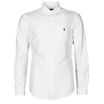 Oblačila Moški Srajce z dolgimi rokavi Polo Ralph Lauren CHEMISE CINTREE SLIM FIT EN OXFORD LEGER TYPE CHINO COL BOUTONNE Bela