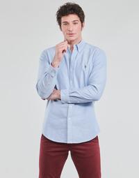 Oblačila Moški Srajce z dolgimi rokavi Polo Ralph Lauren CHEMISE AJUSTEE EN OXFORD COL BOUTONNE  LOGO PONY PLAYER MULTICO Modra