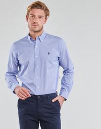 Oblačila Moški Srajce z dolgimi rokavi Polo Ralph Lauren CHEMISE AJUSTEE EN POPLINE DE COTON COL BOUTONNE  LOGO PONY PLAY Modra / Bela