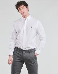 Oblačila Moški Srajce z dolgimi rokavi Polo Ralph Lauren CHEMISE AJUSTEE EN POPLINE DE COTON COL BOUTONNE  LOGO PONY PLAY Bela
