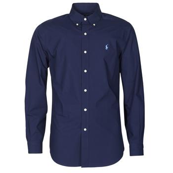 Oblačila Moški Srajce z dolgimi rokavi Polo Ralph Lauren CHEMISE AJUSTEE EN POPLINE DE COTON COL BOUTONNE  LOGO PONY PLAY Modra