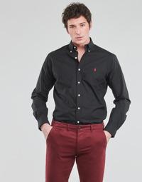 Oblačila Moški Srajce z dolgimi rokavi Polo Ralph Lauren CHEMISE AJUSTEE EN POPLINE DE COTON COL BOUTONNE  LOGO PONY PLAY Črna