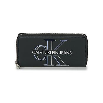 Torbice Ženske Denarnice Calvin Klein Jeans ZIP AROUND GLOW Črna