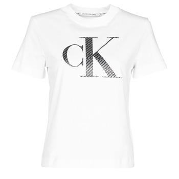 Oblačila Ženske Majice s kratkimi rokavi Calvin Klein Jeans SATIN BONDED FILLED CK TEE Bela