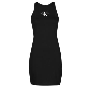 Oblačila Ženske Kratke obleke Calvin Klein Jeans MONOGRAM TANK DRESS Črna