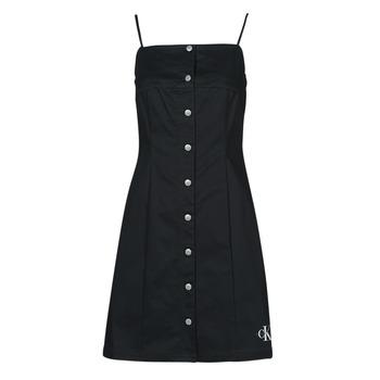 Oblačila Ženske Kratke obleke Calvin Klein Jeans COTTON TWILL BUTTON DRESS Črna