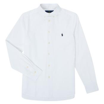 Oblačila Dečki Srajce z dolgimi rokavi Polo Ralph Lauren TOUNIA Bela
