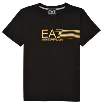 Oblačila Dečki Majice s kratkimi rokavi Emporio Armani EA7 3KBT54-BJ02Z-1200 Črna / Pozlačena