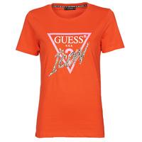 Oblačila Ženske Majice s kratkimi rokavi Guess SS CN ICON TEE Rdeča