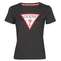 Oblačila Ženske Majice s kratkimi rokavi Guess SS CN ORIGINAL TEE Črna