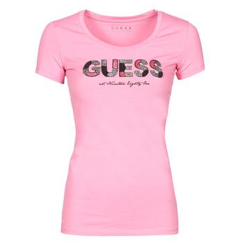 Oblačila Ženske Majice s kratkimi rokavi Guess SS RN MARTINA TEE Rožnata