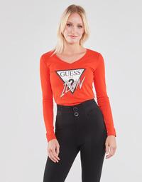 Oblačila Ženske Majice z dolgimi rokavi Guess LS VN ICON TEE Rdeča