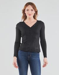 Oblačila Ženske Majice z dolgimi rokavi Guess LS URSULA TOP Črna