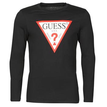 Oblačila Moški Majice z dolgimi rokavi Guess CN LS ORIGINAL LOGO TEE Črna