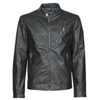 Oblačila Moški Usnjene jakne & Sintetične jakne Guess ECO LEATER VINTAGE BIKER Črna
