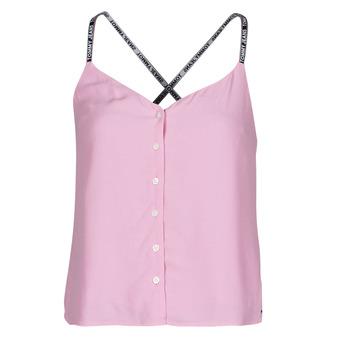 Oblačila Ženske Topi & Bluze Tommy Jeans TJW CAMI TOP BUTTON THRU Rožnata