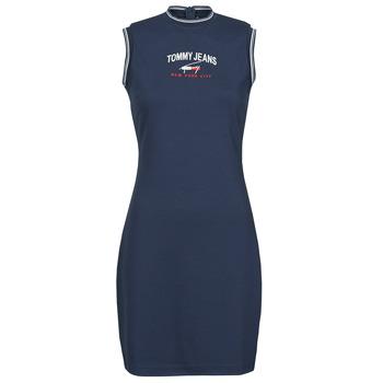 Oblačila Ženske Kratke obleke Tommy Jeans TJW TIMELESS SCRIPT DRESS Modra