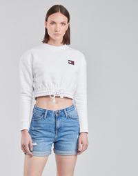 Oblačila Ženske Puloverji Tommy Jeans TJW SUPER CROPPED BADGE CREW Bela