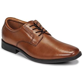 Čevlji  Moški Čevlji Derby Clarks TILDEN PLAIN Kostanjeva