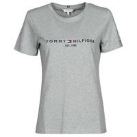 Oblačila Ženske Majice s kratkimi rokavi Tommy Hilfiger TH ESS HILFIGER C-NK REG TEE SS Siva