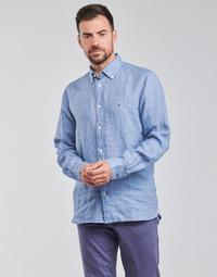 Oblačila Moški Srajce z dolgimi rokavi Tommy Hilfiger PIGMENT DYED LINEN SHIRT Modra
