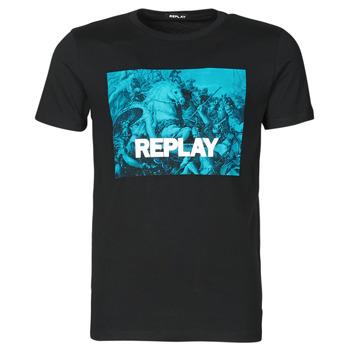 Oblačila Moški Majice s kratkimi rokavi Replay M3412-2660 Črna / Modra