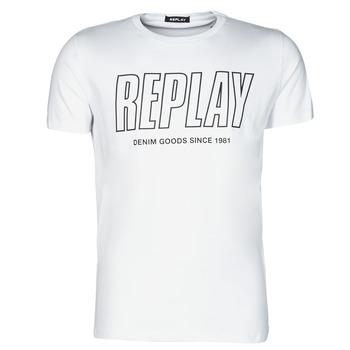 Oblačila Moški Majice s kratkimi rokavi Replay M3395-2660 Bela