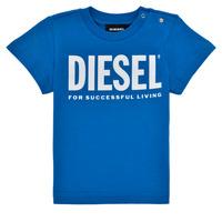 Oblačila Dečki Majice s kratkimi rokavi Diesel TJUSTLOGOB Modra