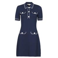 Oblačila Ženske Kratke obleke MICHAEL Michael Kors CONTRAST STITCH BUTTON DRESS Modra