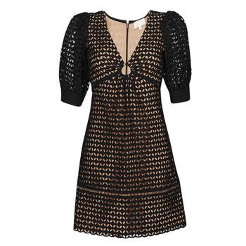 Oblačila Ženske Kratke obleke MICHAEL Michael Kors GEO EYELET MINI DRESS Črna