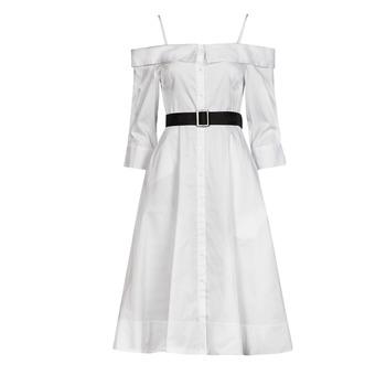 Oblačila Ženske Dolge obleke Karl Lagerfeld COLDSHOULDERSHIRTDRESS Bela