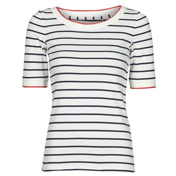 Oblačila Ženske Majice s kratkimi rokavi Esprit RAYURES COL ROUGE Bela