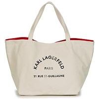 Torbice Ženske Nakupovalne torbe Karl Lagerfeld RUE ST GUILLAUE CANVAS TOTE Kremno bela