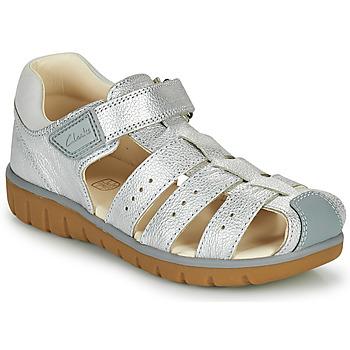 Čevlji  Deklice Sandali & Odprti čevlji Clarks ROAM BAY K Srebrna