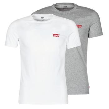 Oblačila Moški Majice s kratkimi rokavi Levi's 2PK CREWNECK GRAPHIC Pack / Hm / White / Tone / Siva
